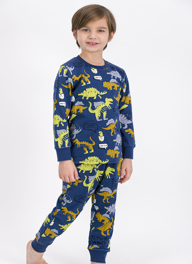 Roly Poly Rolypoly Super Dino Grimelanj Erkek Çocuk Pijama Takımı İndigo